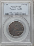 Colonials: , 1786 COPPER New Jersey Copper, Narrow Shield VF25 PCGS. PCGSPopulation (30/90). NGC Census: (5/36). (#496)...