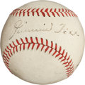 Autographs:Baseballs, Late 1930's Jimmie Foxx & Connie Mack Dual-Signed Baseball....