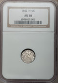 Seated Half Dimes: , 1842 H10C AU58 NGC. NGC Census: (21/116). PCGS Population (14/101).Mintage: 815,000. Numismedia Wsl. Price for problem fre...