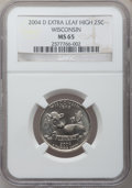 Statehood Quarters, 2004-D 25C Wisconsin Extra Leaf High MS65 NGC. PCGS Population(795/154). Numismedia Wsl. Price for pro...