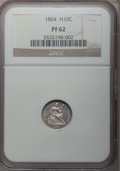 Proof Seated Half Dimes: , 1864 H10C PR62 NGC. NGC Census: (13/102). PCGS Population (23/122).Mintage: 470. Numismedia Wsl. Price for problem free NG...