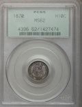 Seated Half Dimes: , 1870 H10C MS62 PCGS. PCGS Population (47/113). NGC Census:(48/141). Mintage: 535,000. Numismedia Wsl. Price for problem fr...