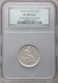 Seated Quarters: , 1838 25C No Drapery -- Improperly Cleaned -- NCS. XF Details. NGCCensus: (10/139). PCGS Population (23/141). Mintage: 466,...