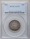 Seated Quarters: , 1861 25C AU53+ PCGS. PCGS Population (22/447). NGC Census: (18/444). Mintage: 4,854,600. Numismedia Wsl. Price for problem ...
