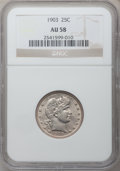 Barber Quarters: , 1903 25C AU58 NGC. NGC Census: (11/62). PCGS Population (16/89).Mintage: 9,670,064. Numismedia Wsl. Price for problem free...