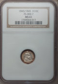 Seated Half Dimes, 1845/1845 H10C MS61 NGC. FS-000.7. NGC Census: (5/138). PCGSPopulation (4/136). Mintage: 1,564,000. Numismedia Wsl. Price ...