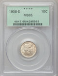 Barber Dimes: , 1908-D 10C MS65 PCGS. PCGS Population (16/12). NGC Census: (15/13).Mintage: 7,490,000. Numismedia Wsl. Price for problem f...
