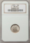 Barber Dimes: , 1905 10C MS64 NGC. NGC Census: (40/28). PCGS Population (57/31).Mintage: 14,552,350. Numismedia Wsl. Price for problem fre...