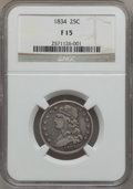 Bust Quarters: , 1834 25C Fine 15 NGC. NGC Census: (14/437). PCGS Population(13/565). Mintage: 286,000. Numismedia Wsl. Price for problem f...