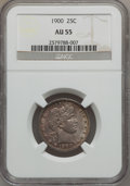 Barber Quarters: , 1900 25C AU55 NGC. NGC Census: (5/227). PCGS Population (16/199).Mintage: 10,016,912. Numismedia Wsl. Price for problem fr...
