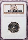 Proof Seated Quarters: , 1881 25C PR63 NGC. NGC Census: (40/158). PCGS Population (72/124).Mintage: 975. Numismedia Wsl. Price for problem free NGC...