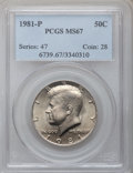 Kennedy Half Dollars: , 1981-P 50C MS67 PCGS. PCGS Population (24/0). NGC Census: (13/1).Mintage: 29,544,000. Numismedia Wsl. Price for problem fr...