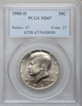 Kennedy Half Dollars: , 1980-D 50C MS67 PCGS. PCGS Population (34/1). NGC Census: (9/0).Mintage: 33,456,448. Numismedia Wsl. Price for problem fre...
