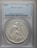 Seated Dollars: , 1849 $1 AU53 PCGS. PCGS Population (35/140). NGC Census: (15/175).Mintage: 62,600. Numismedia Wsl. Price for problem free ...