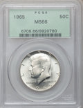 Kennedy Half Dollars: , 1965 50C MS66 PCGS. PCGS Population (92/11). NGC Census: (40/4).Mintage: 65,879,368. Numismedia Wsl. Price for problem fre...