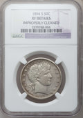 Barber Half Dollars: , 1894-S 50C -- Improperly Cleaned -- NGC Details. XF. NGC Census:(1/148). PCGS Population (13/199). Mintage: 4,048,690. Num...