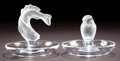 Art Glass:Lalique, TWO LALIQUE GLASS PIN DISHES . Wingen-sur-Moder, France, post 1945.Marks: Lalique, France . 3-1/2 inches high x 4 inche...(Total: 2 Items)