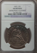 Seated Dollars: , 1853 $1 -- Improperly Cleaned -- NGC Details. AU. NGC Census:(5/120). PCGS Population (19/125). Mintage: 46,110. Numismedi...