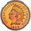 Proof Indian Cents, 1908 1C Indian Cent PR66 ★ Red and Brown Cameo NGC. CAC....