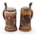 Ceramics & Porcelain, TWO METTLACH EARTHENWARE STEINS . Circa 1900. Marks: (castle) METTLACH, VB, GE. GESCH. 1914, II, 21, 00 (effaced); GES. OF... (Total: 2 Items)
