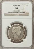 Barber Half Dollars: , 1894-O 50C Fine 12 NGC. NGC Census: (6/137). PCGS Population(7/231). Mintage: 2,138,000. Numismedia Wsl. Price for problem...