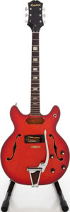 Musical Instruments:Electric Guitars, 1970s Epiphone EA-250 Red Semi-Hollow Body Electric Guitar Project,Serial # 02938....