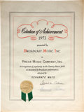 "Music Memorabilia:Awards, Elvis Presley ""Separate Ways"" BMI Certificate of Achievement(1973)...."