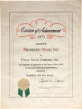 "Music Memorabilia:Awards, Elvis Presley ""Always on My Mind"" BMI Citation of Achievement(1973)...."