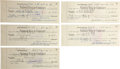 Music Memorabilia:Autographs and Signed Items, Scotty Moore Signed Checks.... (Total: 5 Items)
