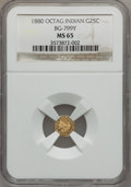California Fractional Gold: , 1880 25C Indian Octagonal 25 Cents, BG-799Y, High R.4, MS65 NGC.NGC Census: (2/2). PCGS Population (2/0). (#10651)...