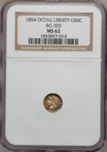 California Fractional Gold: , 1854 50C Liberty Octagonal 50 Cents, BG-305, Low R.4, MS62 NGC. NGCCensus: (9/8). PCGS Population (28/43). (#10425)...