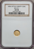California Fractional Gold: , 1856 50C Liberty Octagonal 50 Cents, BG-311, Low R.4, AU58 NGC. NGCCensus: (3/24). PCGS Population (23/75). (#10436)...