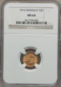 Commemorative Gold: , 1916 G$1 McKinley MS64 NGC. NGC Census: (756/873). PCGS Population(1358/1598). Mintage: 9,977. Numismedia Wsl. Price for p...