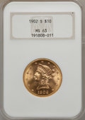 Liberty Eagles: , 1902-S $10 MS63 NGC. NGC Census: (916/796). PCGS Population (782/541). Mintage: 469,500. Numismedia Wsl. Price for problem ...