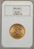 Liberty Eagles: , 1901 $10 MS63 NGC. NGC Census: (6121/3236). PCGS Population(3772/2036). Mintage: 1,718,825. Numismedia Wsl. Price for prob...
