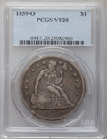 Seated Dollars: , 1859-O $1 VF20 PCGS. PCGS Population (6/735). NGC Census: (7/483).Mintage: 360,000. Numismedia Wsl. Price for problem free...