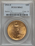 Saint-Gaudens Double Eagles: , 1911-S $20 MS62 PCGS. PCGS Population (850/3188). NGC Census:(1283/3490). Mintage: 775,750. Numismedia Wsl. Price for prob...