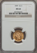 Liberty Quarter Eagles: , 1899 $2 1/2 MS64 NGC. NGC Census: (156/116). PCGS Population(132/90). Mintage: 27,200. Numismedia Wsl. Price for problem f...