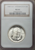 Commemorative Silver: , 1949-S 50C Booker T. Washington MS66 NGC. NGC Census: (343/54).PCGS Population (389/22). Mintage: 6,004. Numismedia Wsl. P...