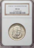 Commemorative Silver: , 1950 50C Booker T. Washington MS66 NGC. NGC Census: (154/13). PCGSPopulation (176/2). Mintage: 6,004. Numismedia Wsl. Pric...