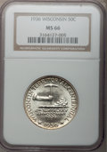 Commemorative Silver: , 1936 50C Wisconsin MS66 NGC. NGC Census: (1222/376). PCGS Population (1515/432). Mintage: 25,015. Numismedia Wsl. Price for...