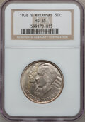 Commemorative Silver: , 1938-S 50C Arkansas MS65 NGC. NGC Census: (134/40). PCGS Population(176/60). Mintage: 3,156. Numismedia Wsl. Price for pro...