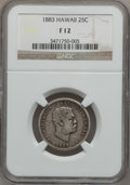 Coins of Hawaii: , 1883 25C Hawaii Quarter Fine 12 NGC. NGC Census: (1/1071). PCGSPopulation (8/1609). Mintage: 500,000. (#10987)...