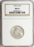 Washington Quarters, 1932-S 25C MS63 NGC....