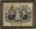 Political:3D & Other Display (pre-1896), Elegant 1884 Grover Cleveland and Thomas Hendricks Campaign Engraving By S. J. Ferris, James R. Rice of Philadelphia. Bust...