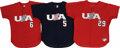 Baseball Collectibles:Uniforms, 2000 Team USA Game Worn Jerseys Lot of 3. Fine trio of game wornjersey from members of the Team USA baseball team are offe...
