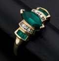 Estate Jewelry:Rings, Green Stone & Gold Ring. ...