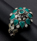 Estate Jewelry:Rings, Vintage 18k Gold Emerald & Diamond Dome Ring. ...