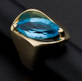 Estate Jewelry:Rings, Marquise Blue Topaz Gold Ring. ...