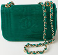 Luxury Accessories:Bags, Heritage Vintage: Chanel Green Lizard Flap Bag with Gold Hardware....